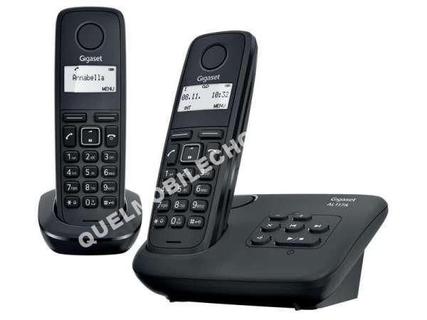mobile gigaset t l phone fixe pack sans fil al117a duo noir au meilleur prix. Black Bedroom Furniture Sets. Home Design Ideas